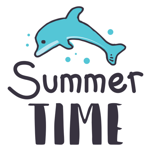 Summer time dolphin badge sticker Transparent PNG