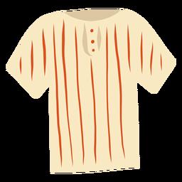 T-Shirt Streifen Knopf flach
