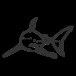 Doodle de aleta de tiburón cola