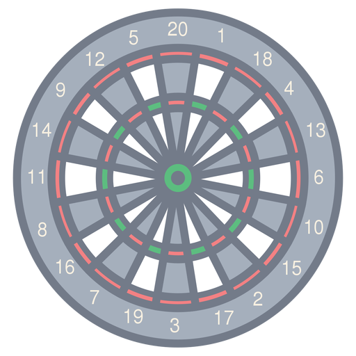 Target darts number figure sector flat Transparent PNG