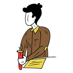 Esboço de casaco de calças de experiência de tubo de ensaio de papel químico de professor