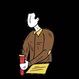 Lehrer Chemie Papier Reagenzglas Experiment Hose Jacke Skizze