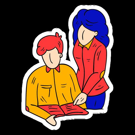 Teacher student book text trousers jacket sketch