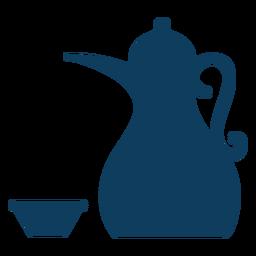 Teapot kettle tea bowl silhueta de pote de café