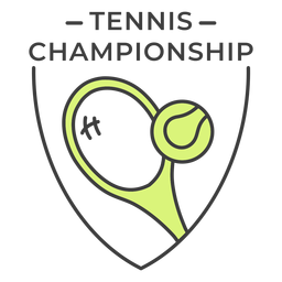 Tennis championship racket ball colored badge sticker