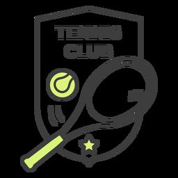 Etiqueta colorida do crachá da estrela da bola da raquete do clube de tênis