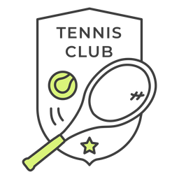 Etiqueta engomada coloreada estrella de la bola de la raqueta de club de tenis