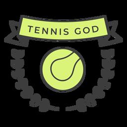 Etiqueta engomada coloreada rama de la bola de dios de tenis