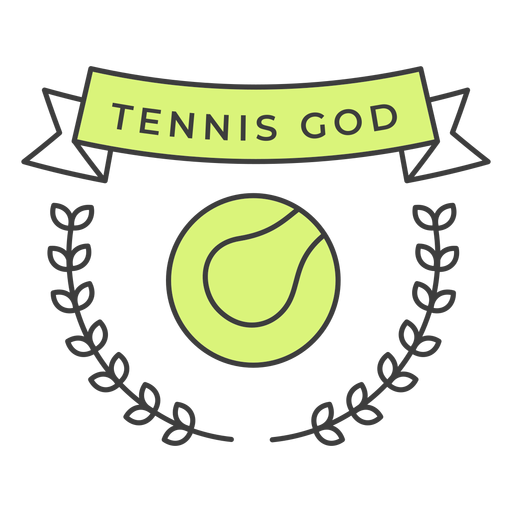 Tennis god ball branch colored badge sticker Transparent PNG