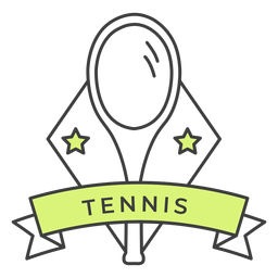 Tennis racket star colored badge sticker