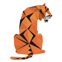 Tiger muzzle stripe tail low poly