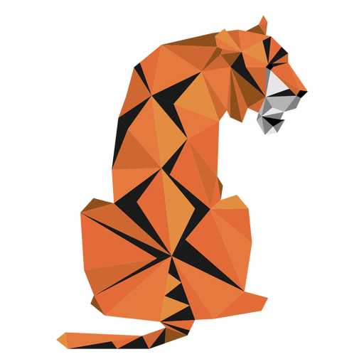 Tiger muzzle stripe tail low poly Transparent PNG
