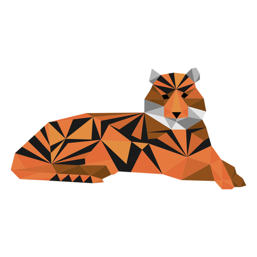 Tiger stripe muzzle tail low poly Transparent PNG