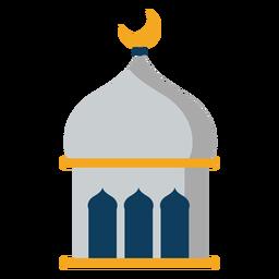 Mesquita de torre cúpula crescente plana