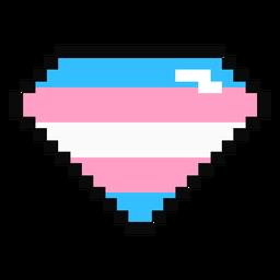 Transgênero diamante brilhante tarja pixel plano