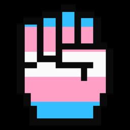 Transgender mano dedo puño raya píxel plana