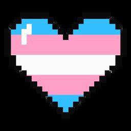 Transgénero corazón raya pixel plana
