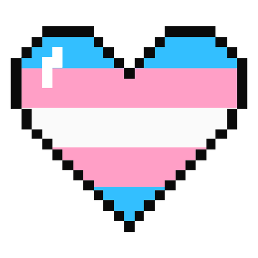 Transgénero corazón raya pixel plana Transparent PNG