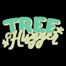 Etiqueta do emblema do teste padrão do ramo do hugger da árvore
