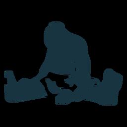 Ausführliches Schattenbild des riesigen sitzenden Fußes des Trolls