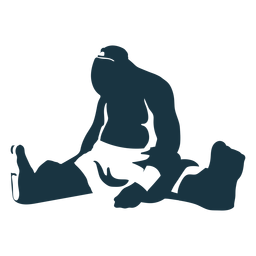 Troll giant sitting foot detailed silhouette