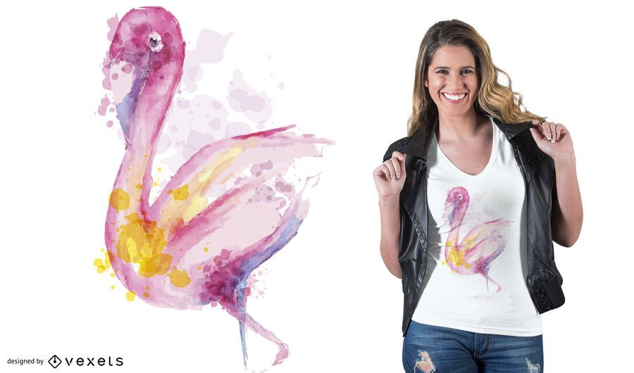 Aquarell Flamingo T-Shirt Design