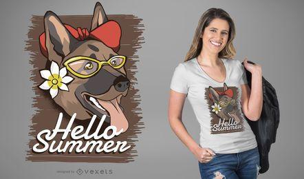 Design de camiseta para cachorro de verão