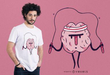 Diseño de camiseta de cerebro de salto de cuerda