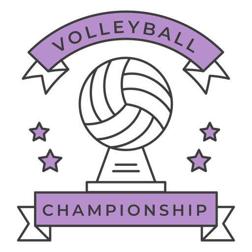 Volleyball championship ball star colored badge sticker Transparent PNG