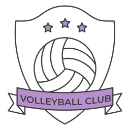 Etiqueta colorida do emblema da estrela da bola do clube do voleibol