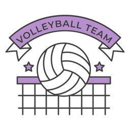 Volleyball team ball net star colored badge sticker