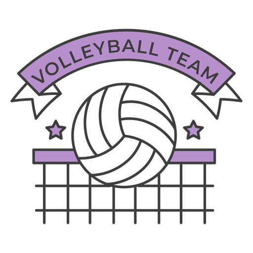 Volleyball team ball net star colored badge sticker Transparent PNG