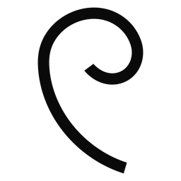 W tendril curl silhouette