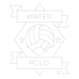 Water polo ball star wave badge line