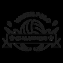 Water polo champion ball drop badge stroke