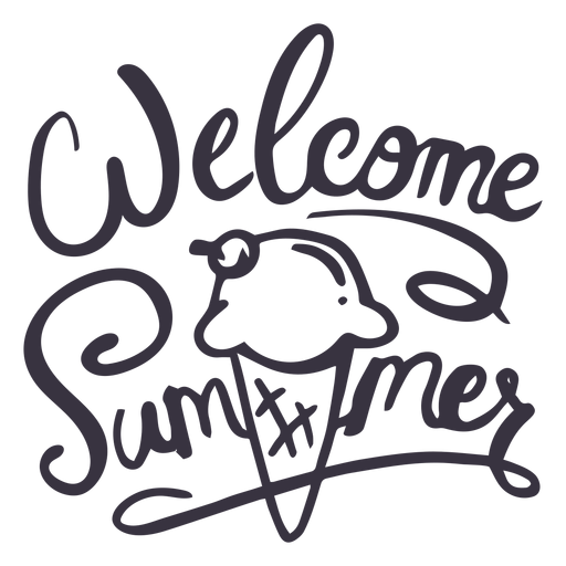 Welcome summer ice cream badge sticker Transparent PNG