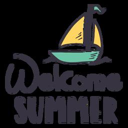 Etiqueta engomada de la insignia de la vela de verano de bienvenida
