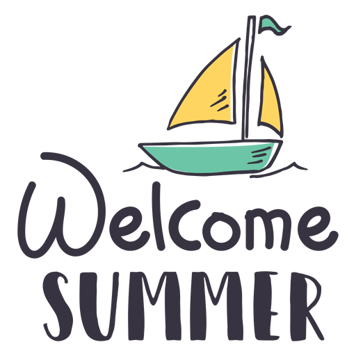 Welcome summer sail badge sticker Transparent PNG