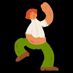 Mulher blusa calças anel de orelha dançando plana