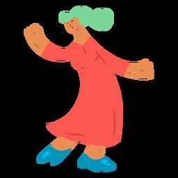 Mujer bailando zapato vestido tacón plano
