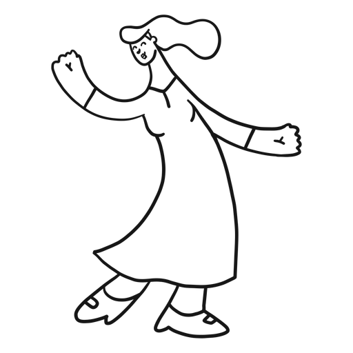 Mujer bailando zapato vestido tacon trazo Transparent PNG