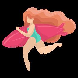 Mujer niña bañador traje de baño pelo inflable juguete plano