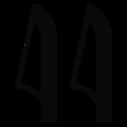 Y leaf cane detailed silhouette
