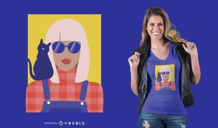 Menina Elegante Com Design De T-shirt Do Gato