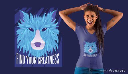 Projeto de t-shirt poligonal gradiente lobo