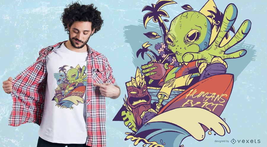 Martian Goes to Hawaii T-Shirt Design