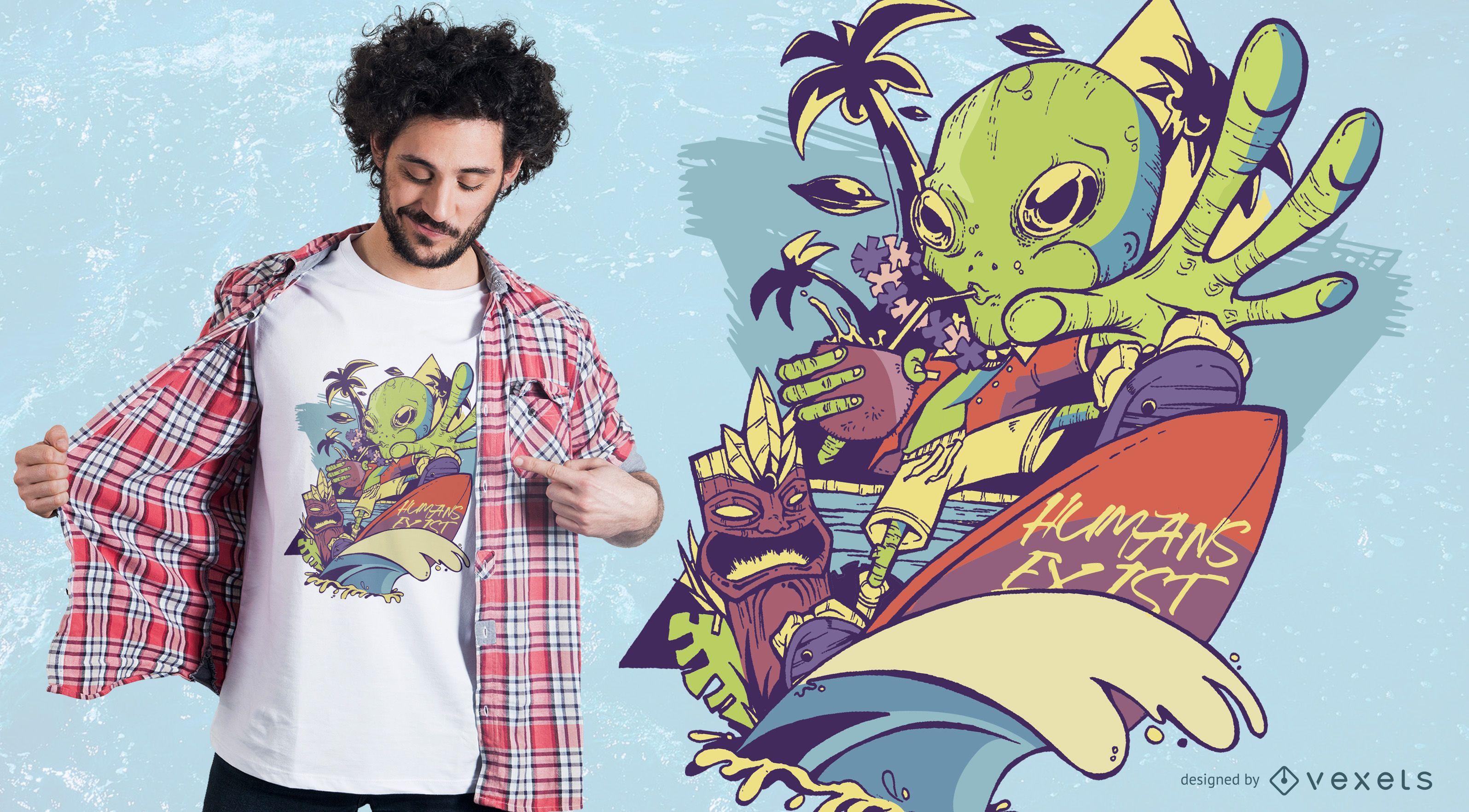 Dise?o de camiseta Martian Goes to Hawaii