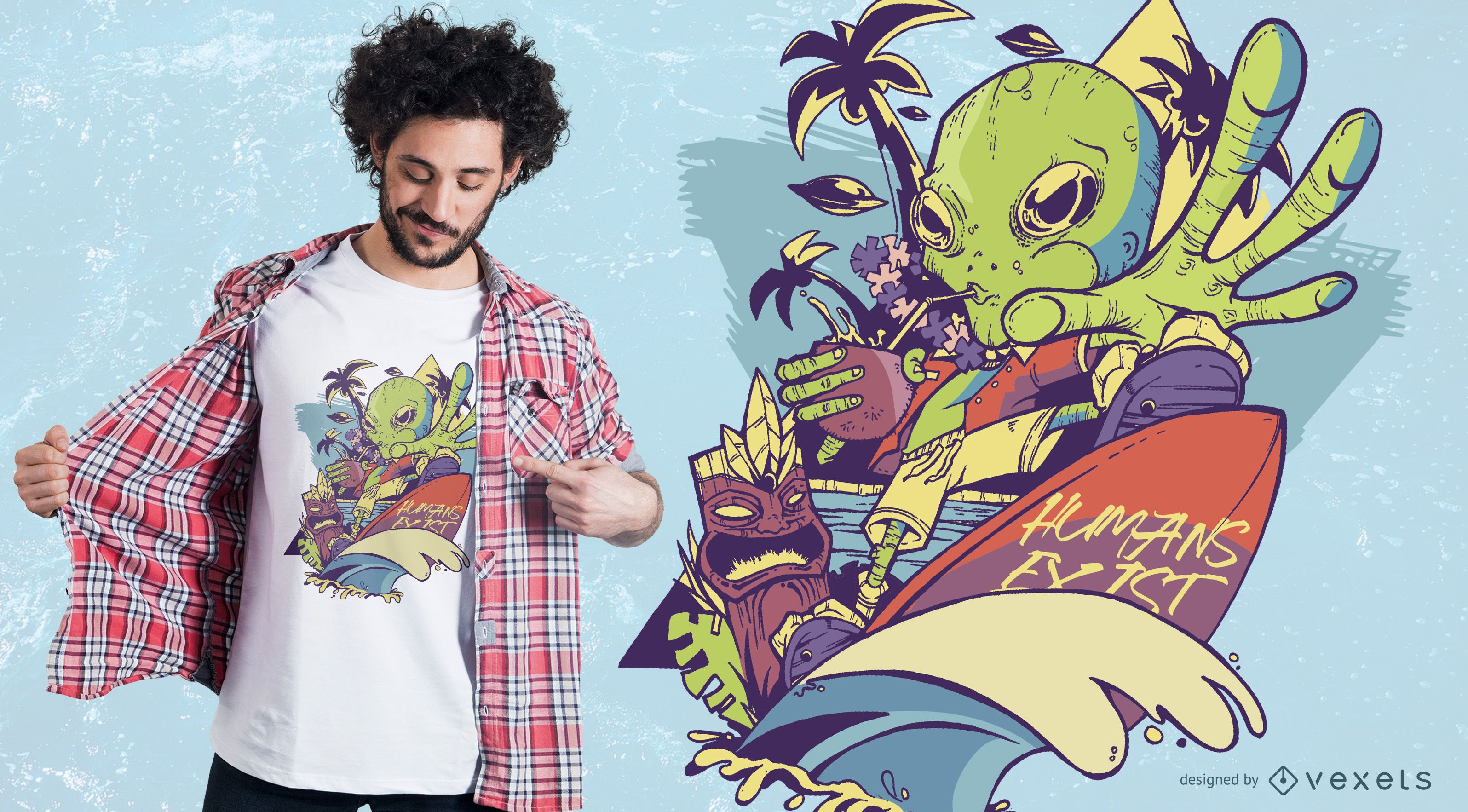 Martian Goes to Hawaii T-Shirt Design