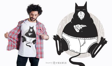 Diseño de camiseta de gato de pizza
