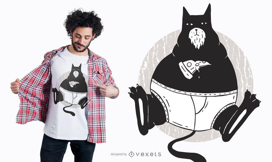 Design do t-shirt do gato da pizza